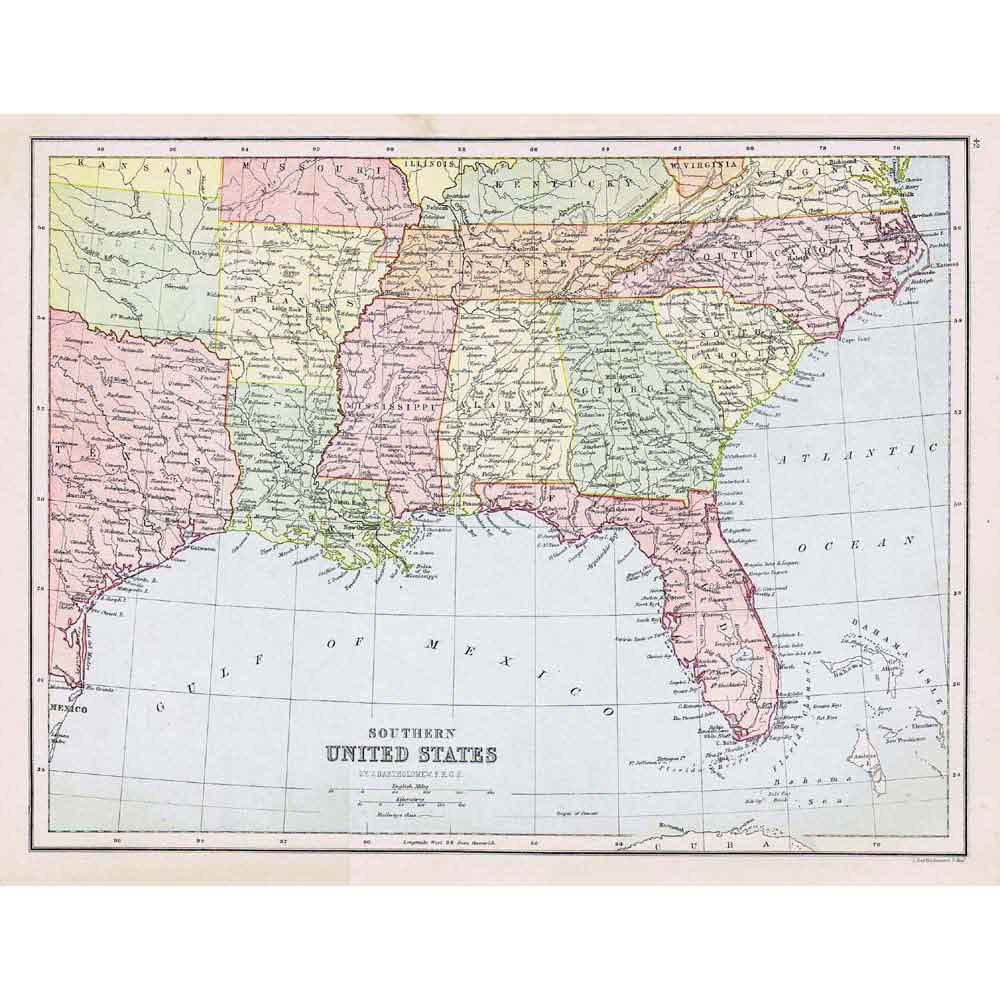 UNITED STATES S Louisiana Florida Alabama  Antique