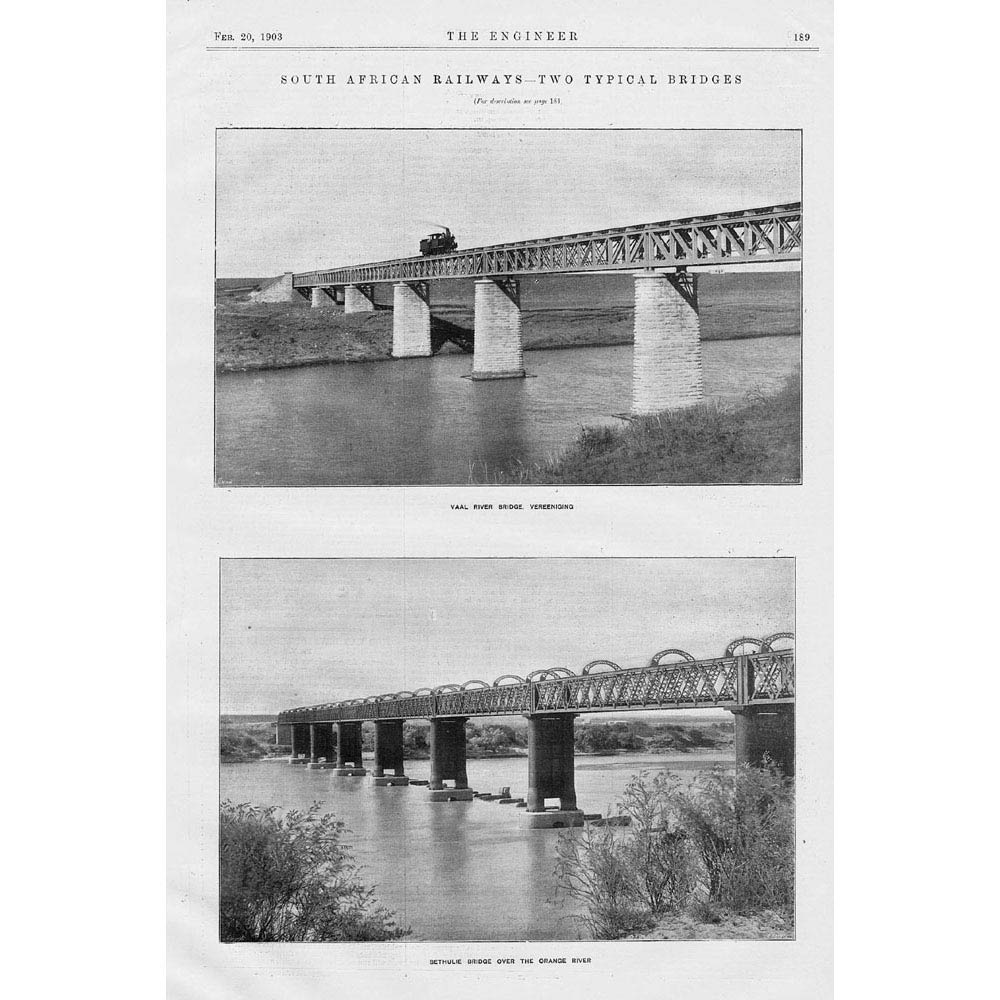 Bethulie South Africa  city photos : ... Old Print South African Railway Vaal River Bethulie Bridge | eBay