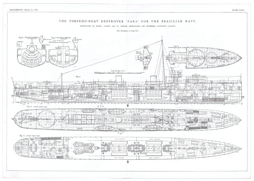 1909 4x Antique Engineering Prints - Torpedo Boat Destroyer for Brazilian Navy | eBay