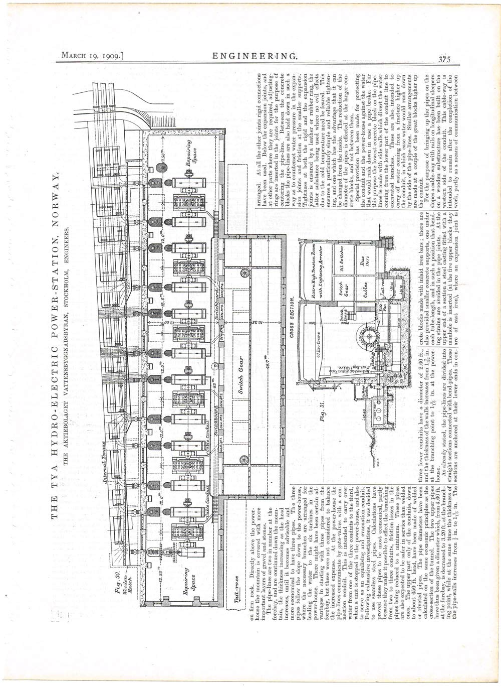 1909 Engineering 2 Antique Prints Tya Hydro Electric Power Station Plant Circuit Diagram