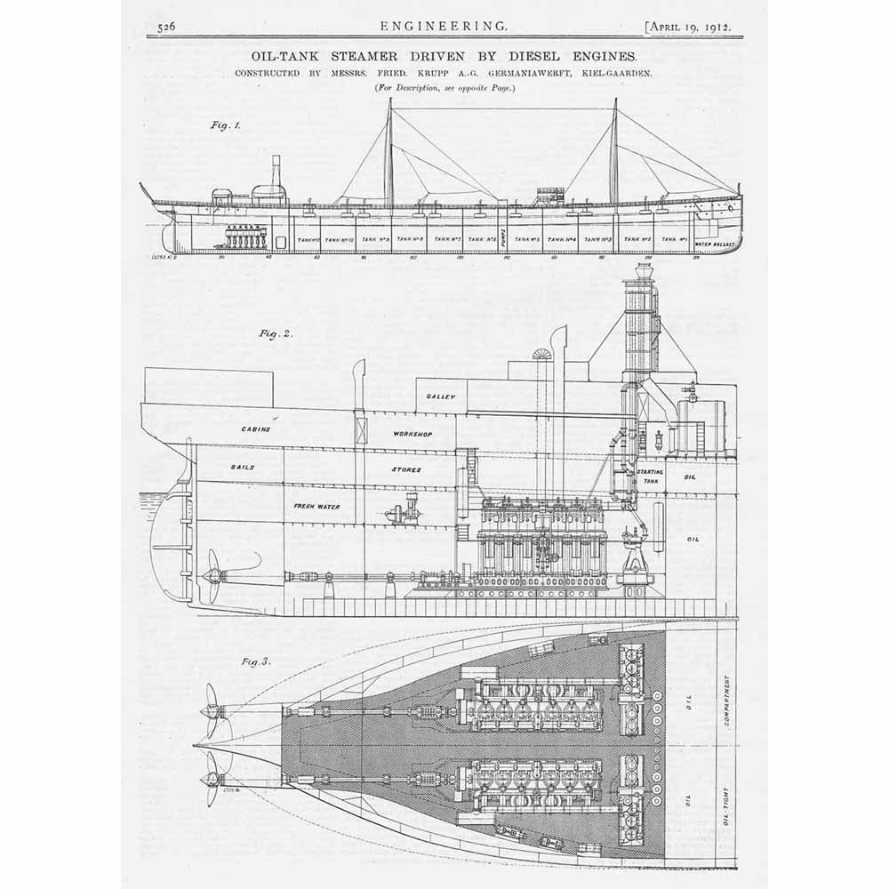 1912 2x Antique Engineering Prints Oil Tank Steamer Driven By Schematic Diesel Engines