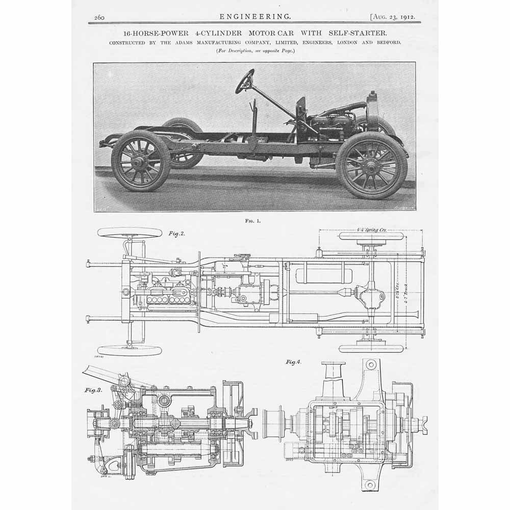 1912 3x Antique Engineering Prints - 10hp 4-Cylinder Motor Car With ...