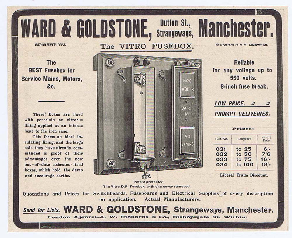 Ward Goldstone Dutton St Manchester Electrical Fuseboxes Old Fuse Boxes Print Title Advert 1904