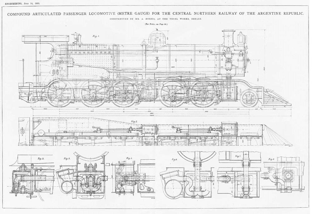 1905 3x antique engineering prints