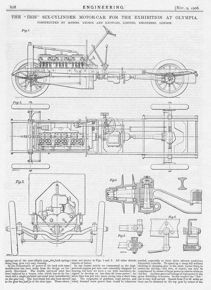 1906 2x Old Engineering Prints - Iris Six Cylinder Motor Car by ...