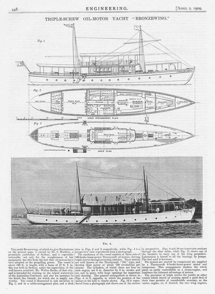 details about 1909 2x antique engineering prints - triple screw oil motor  yacht, bronzewing