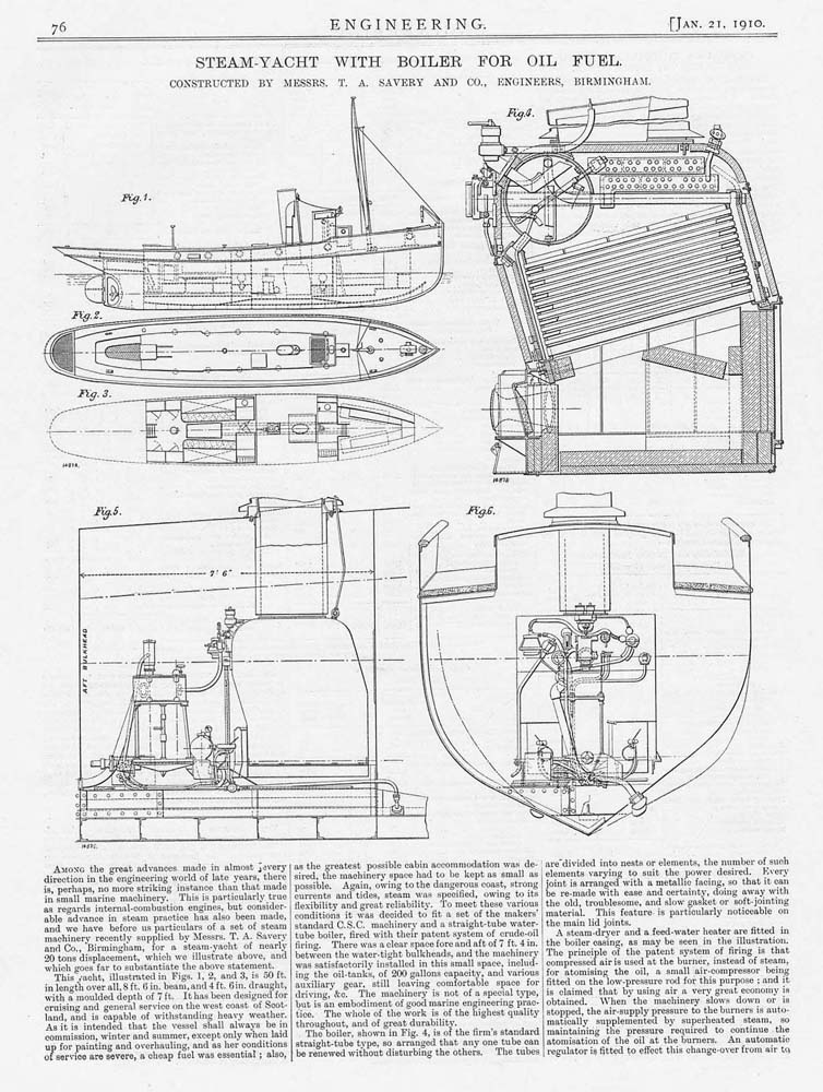 1910 2x Antique Engineering Prints - Steam Yacht With Boiler For Oil ...