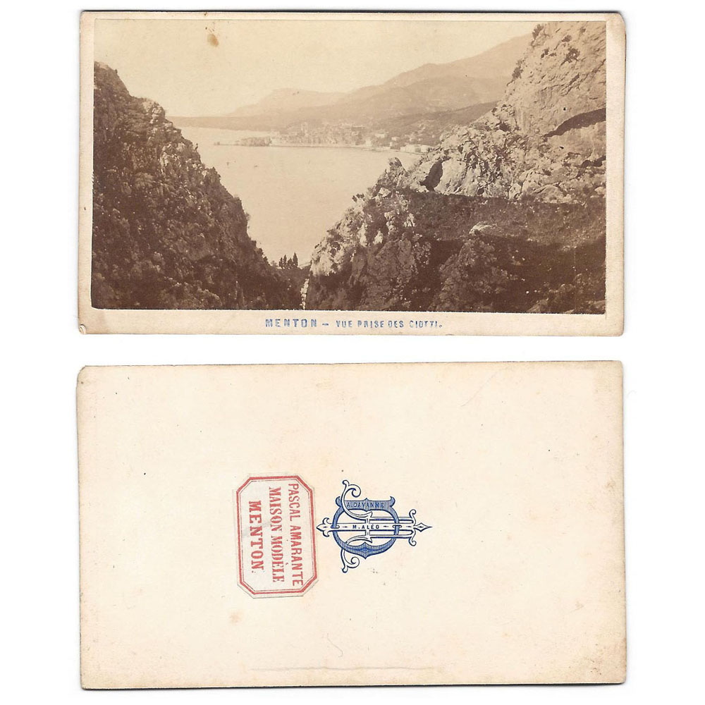 CDV View of MENTON Carte de Visite Photograph by Amarante | eBay